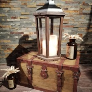 Coffre bois et cuir location vintage